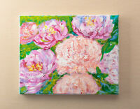 Peony Original Acrylic Abstract Flowers Painting on Canvas Beautiful Wall Decor