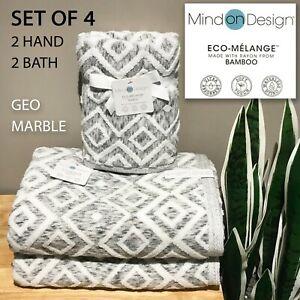 SET OF 4 New Mind on Design ECO-MELANGE Bamboo Rayon Bath Hand Towels Geo Marble