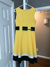Calvin Klein Sleeveless Fit and Flare Yellow Dress Size 4