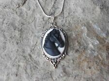 """BLACK HORSE CAMEO PENDANT NECKLACE - HORSE LOVER GIFT - 925 PLATE CHAIN, 1 3/4"""""""