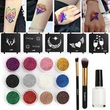 12 Colors 5 Stencils Brush Glue Glitter Powder Temporary Tattoo Body Kit & Box