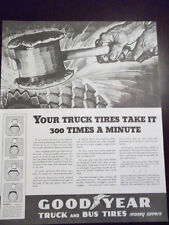 1936 Goodyear Truck and Bus Tires Crushing Blows Advertisement