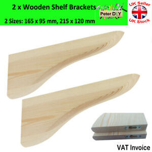 2 x WOODEN Shelf Supports BRACKETS 20mm Pine 2 Sizes 165x95mm or 215x120mm