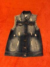 Cello Denim Wear Jean Jacket Distressed Sleeveless S Small