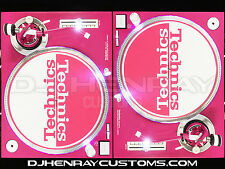 2 custom Hot Pink Technics SL1200 MK2's Ultra White leds halos dj turntables