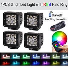 "4x 3"" CREE Led Work Light Bar Pod Cubes RGB Halo Strobe Music Control Bluetooth"