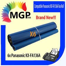 6x GENERIC FAX FILM ROLLS FA136A FA136 KX-FA136A For PANASONIC KX-F1010 KX-F1110