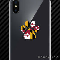 (2x) Maryland State Shaped Paw Print Cell Phone Sticker Mobile Dog Cat Pet Puppy