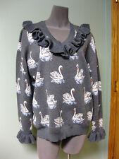 Stella McCartney NWT Flouncy Ruffle Trim Cuffs Swan Jacquard Knit Sweater 44