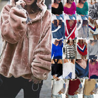 femmes Long Sleeve Pullover pull Tops Loose courte chandail de tricot Chemisier