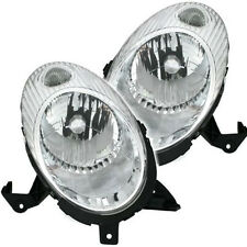 Chrome silver headlight front light set PAIR for NISSAN MICRA K12 03-07