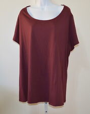 CACIQUE Women's Maroon/Red Cap Sleeve Lace Back Neck Knit Top Tunic Size 26/28