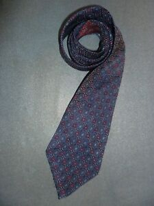 Vintage retro silk tie navy and maroon circles short length