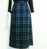 Pendleton Vintage Wool Plaid Maxi Skirt Pleated Green Red USA Size 4 Small Skirt