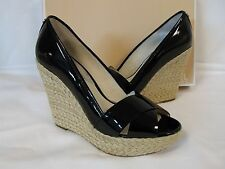 29305213213b Michael Kors 10 M Cassandra Black Patent Leather Wedges Womens Shoes