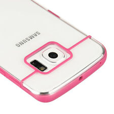 For Samsung Galaxy S6 Edge - HARD RUBBER TPU GUMMY SKIN CASE COVER PINK CLEAR