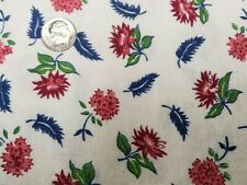 BEST Vintage Feedsack Quilt Fabric 40s Tiny Pink Floral Feathers Flour Sack