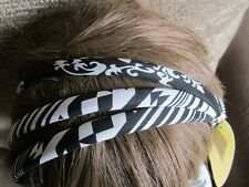 Pack 3 Negro Blanco Bandas Para El Cabello Alice 1cm Banda De Tela Diadema venda Hairband Rayas