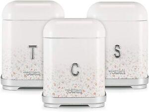 Tower T826151TAN Terrazzo Set of 3 Canisters, Tea Coffee Sugar, Tan