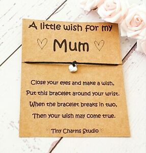 Mum Wish bracelet Mothers day Jewellery Keepsake Birthday Lockdown Gift For Mom