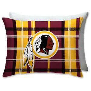 "WASHINGTON REDSKINS NFL Pillow Full Size Plaid Bed Throw 20"" x 26"" Sherpa Back"
