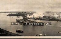1928 U.S.S. Texas entering Havana Harbor Cuba Vintage Panoramic Photo