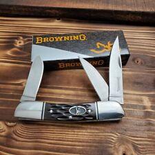 Browning Brown Jigged Bone 3 Blade Stockman Folding Pocket Knife 3220159