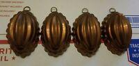 "4 Vtg Copper & Tin Jello Molds Rustic Cottagecore nice patina small 4"" long"