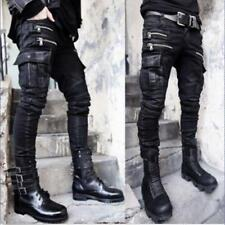 Men's Black Skinny Pocket Biker Punk Rock Denim Embossed Trousers Jeans Pants