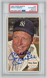 1964 Topps Giants Autographed PSA/DNA 8 Mickey Mantle #25 Signed Baseball Card