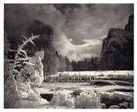 1949 Original ANSEL ADAMS Yosemite Snow River Mountain Landscape Photo Art 12X16