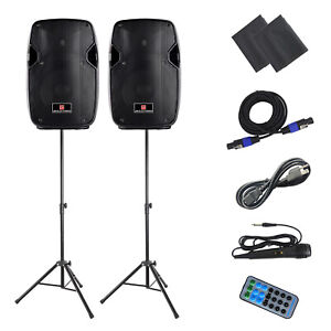"""PA Speaker System 10"""" Active Speaker Pair with Bluetooth,Tripod, Remote Control"""