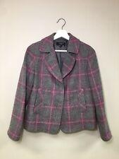 Talbots Wool Blend Pink Gray Tweed Plaid Blazer Jacket Sz 2P