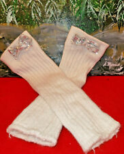 JUSTICE GIRL'S KID'S SPARKLY LEG WARMERS W/ SILVER SEQUIN BOWS DANCE ICE SKATING