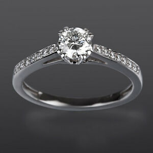 SOLITAIRE & ACCENTS DIAMOND RING 18 KT WHITE GOLD 1.23 CT VVS1 SIZE 4.5 5 6 7 8