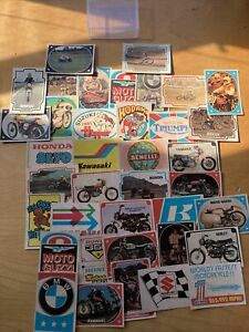 Vintage Lot of 38 AMA 1970's Super Cycles Motorcycle Racing Sticker Cards