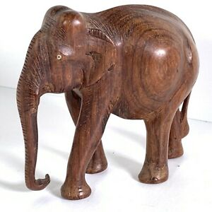 """Vintage Small Dark Brown Wooden Elephant Statue Figurine Hand Carved Wood 4.5"""""""