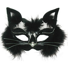 TRANSPARENT BLACK CAT EYE MASK ANIMAL MASQUERADE ADULT FANCY DRESS ACCESSORY