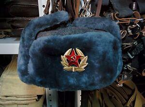 New Real Sheepskin Fur Authentic Soviet and Russian Gray army hat ushanka