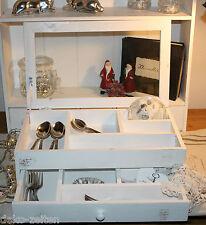 Besteckkasten Nähkasten  Holzkiste Holzbox  Schatullen Shabby Design Holz weiß