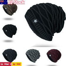 Men Women Baggy Cap Slouch Oversize Hat Skull Ski Beanie Crochet Winter Knit AU