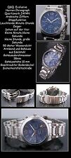 Q&Q Men's Chronograph Stainless Steel Easy to Read azurblaues Face NEW