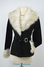 Vintage B*lucid BOHO HIPPY Leather Suede Faux Fur trim Jacket warm Coat XS NEW