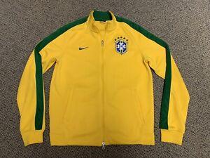 2014 Brazil Nike Anthem Jacket Yellow Home Jersey Shirt Brasil Coat Medium M