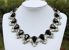 Vintage Gold Lady Costume Jewelry Black Teardrops & Crystal Bee Collar Necklace