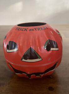 Vintage Halloween Metal Jack O Lantern Haunted House Pumpkin Pail US Metal Toy