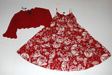 NWT Gap Villa Red Floral Smocked Sundress~Red Crochet Bolero Sweater Size 4 5 XS