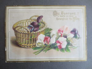 Victorian NEW YEAR Card Basket of Sweet Peas Bertha Maguire Chromo Litho 1880s