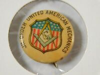 "Vintage ""Jr. Order United American Mechanics"" Masonic Button Pinback Pin"