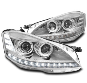 FOR 07-09 MERCEDES-BENZ W221 S-CLASS [HID MODEL] LED PROJECTOR HEADLIGHTS CHROME